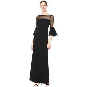 Calvin Klein Illusion Neckline Bell Sleeves Gown